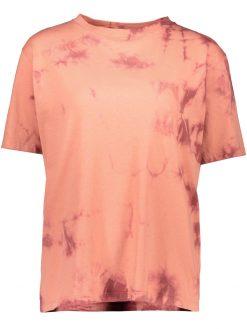 T-shirt mit Batikeffekt in Koralle Vorderseite